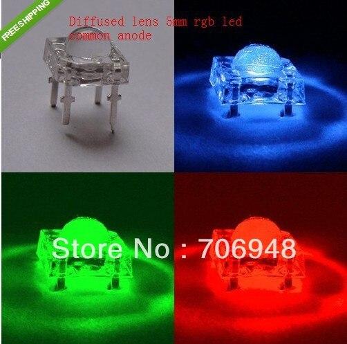 LED RGB de ánodo común súper flujo piraña de 5mm difuso