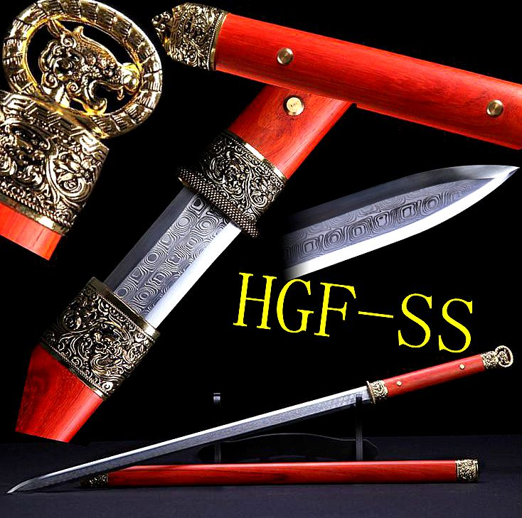 Auténtico chino LongQuan hecho a mano Han Tang KungFu espada madera roja Saya Battle Jian/Full Tang alto acero al carbono hoja Veay