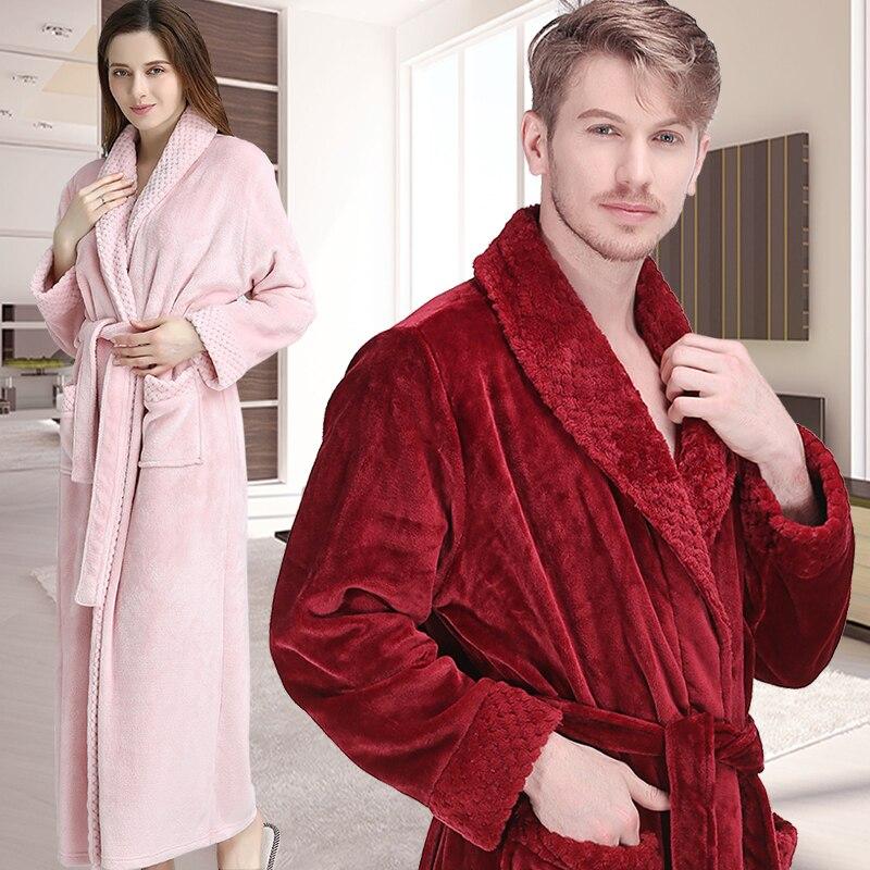 Albornoz Extra largo de invierno para mujer y hombre, albornoz de lujo grueso de franela con rejilla de piel, albornoz suave térmico para dama de honor