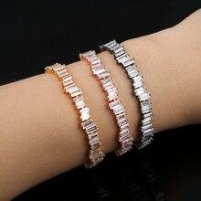 Bracelet Baguette homme et femme zircon cubique AAA de marque populaire, bracelet en cuivre, bracelet épais IN02