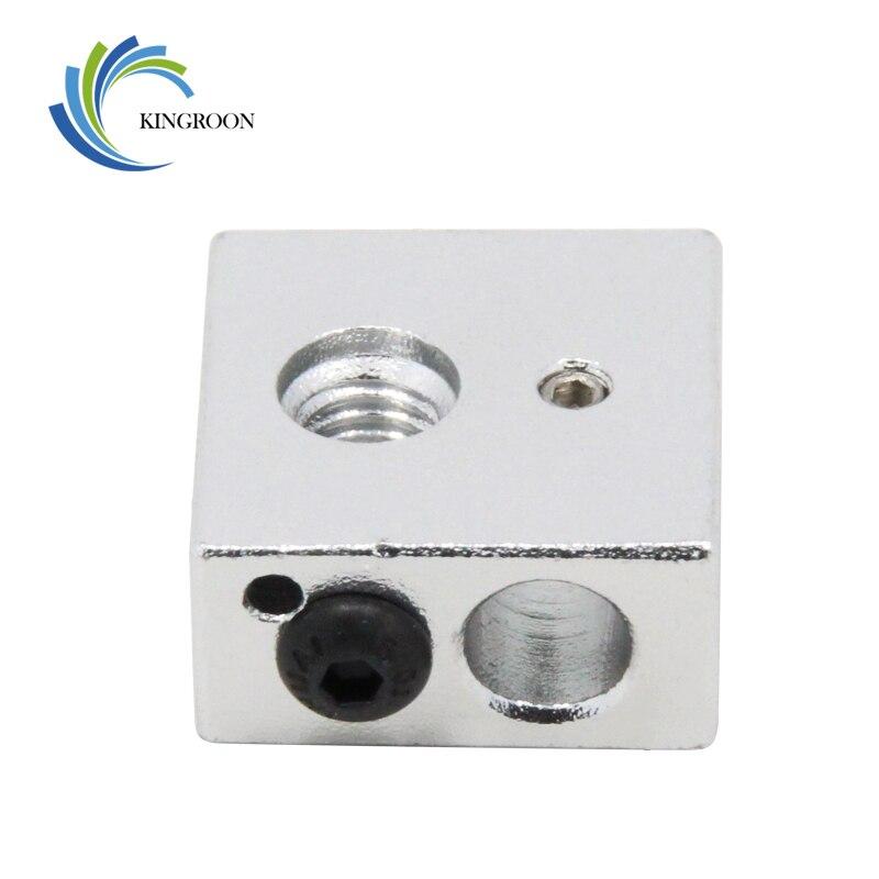 Kingroon 1 pc mk7 mk8 aquecimento bloco cabeça de aquecimento 3d peças de impressora v6 j-head extrusora de alumínio bloco reprap makerbot bloco de aquecimento