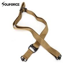 Tactique 2 Point unique pistolet fronde fusil élingue élastique sangle de sécurité en Nylon ceinture corde avec crochet en métal pour la chasse
