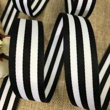 Hot 25MM czarno-białe dno biały pasek ryps wstążka DIY odzież tkaniny do szycia dostarcza akcesoria do plecaków ruban