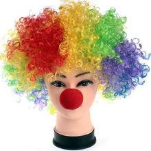 Perruque éponge de fête dhalloween 1 pièce   Perruque de Clown rouge, nez magique de Clown, Costume Explosion boucles, fournitures de gros