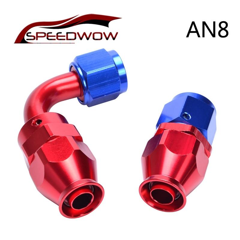 SPEEDWOW-AN8 recto/90 grados PTFE reutilizable racor adaptador de extremo de manguera giratorio de aluminio extremo de la manguera de combustible de aceite reutilizables de
