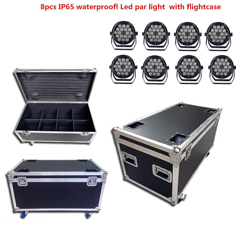 8X  IP65 waterproof led Par Light with flightcase 18X18W dj Lights RGBWA UV 6in1 stage DJ equipment disco lights