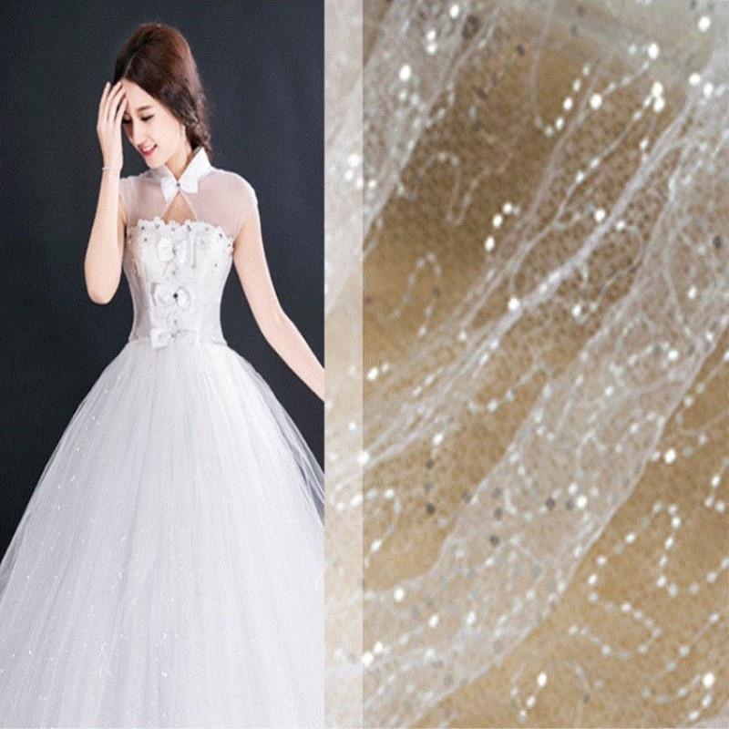 Tissu en maille à paillettes brodées de 130 cm de large   Tissu pour la décoration de la robe de mariage, matériel de bricolage plusieurs couleurs disponibles