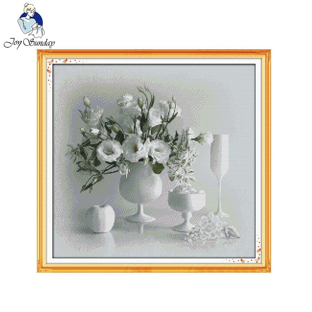 Jarrón blanco Joy Sunday, 11 CT, tela estampada, 14 ct, lienzo contado, Kits de punto de cruz chinos, juego de bordado de costura