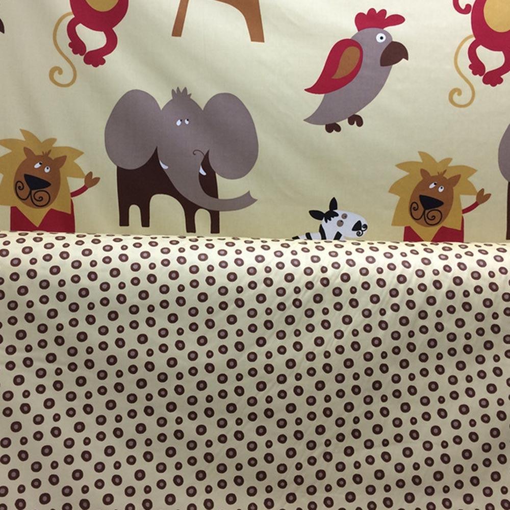 100% cotton twill cartoon big animals brown polka dots cloths for DIY kids bedding tent tablecloth patchwork textile fabrics