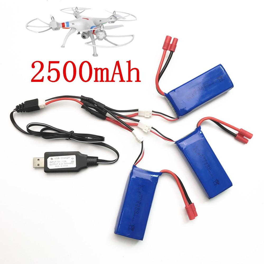 Syma X8C pièces chargeur batterie X8C X8W X8G X8HC X8HW X8HG 7.4V 2500mah RC quadrirotor pièces de rechange chargeur + 1 à 3 fils + 3 batterie
