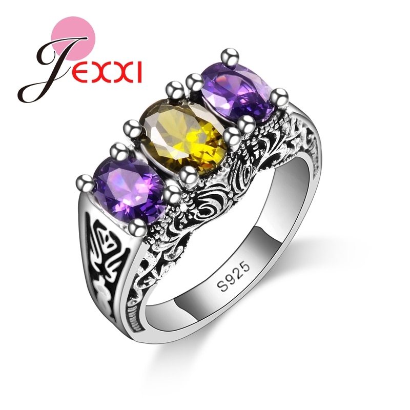 New Design Colorful Cubic Zirconia Ring Fashion 925 Sterling Silver Women Wedding Engagement Party Ring Jewelry colorfish new unique design three stone wedding ring round cut sona 925 sterling silver for women engagement ring lovers promise