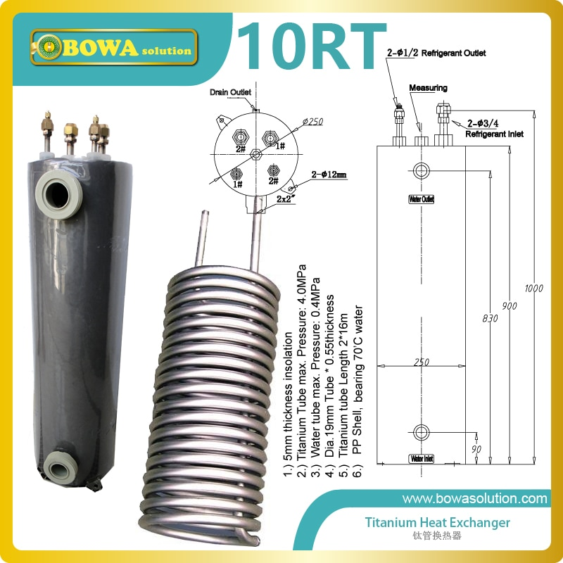10RT Titanium heat exchanger he PVC-U shell was tested by 0.2Mpa water pressure to make sure the water system not leakage