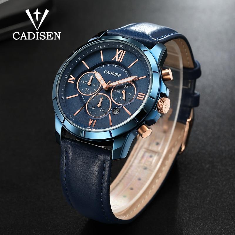 CADISEN Mens Watches Top Luxury Brand Sports Watch Men Military Leather Quartz-watch Waterproof Male Clock Relogio Masculino