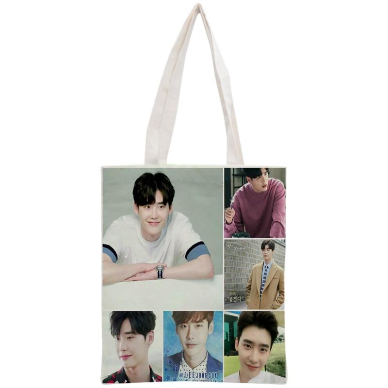 Custom Lee Jong Suk Tote Bag Reusable Handbag Women Shoulder Foldable Canvas Shopping Bags Customize your image