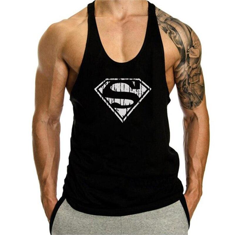 Mens Parte Superior Do Tanque Longarina Singlets Roupas de Treino de Fitness Ginásios Superman Camisa Sem Mangas de Algodão Verão Camisola Colete Masculino