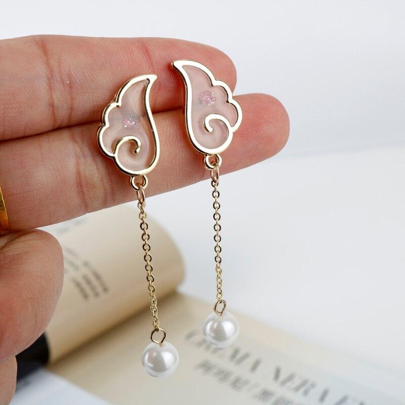 MQCHUN Enamel Angel Wings Cherry Blossom Imitation Pearls Handmade Card Captor Sakura Dangle Earrings for Women Girls-15