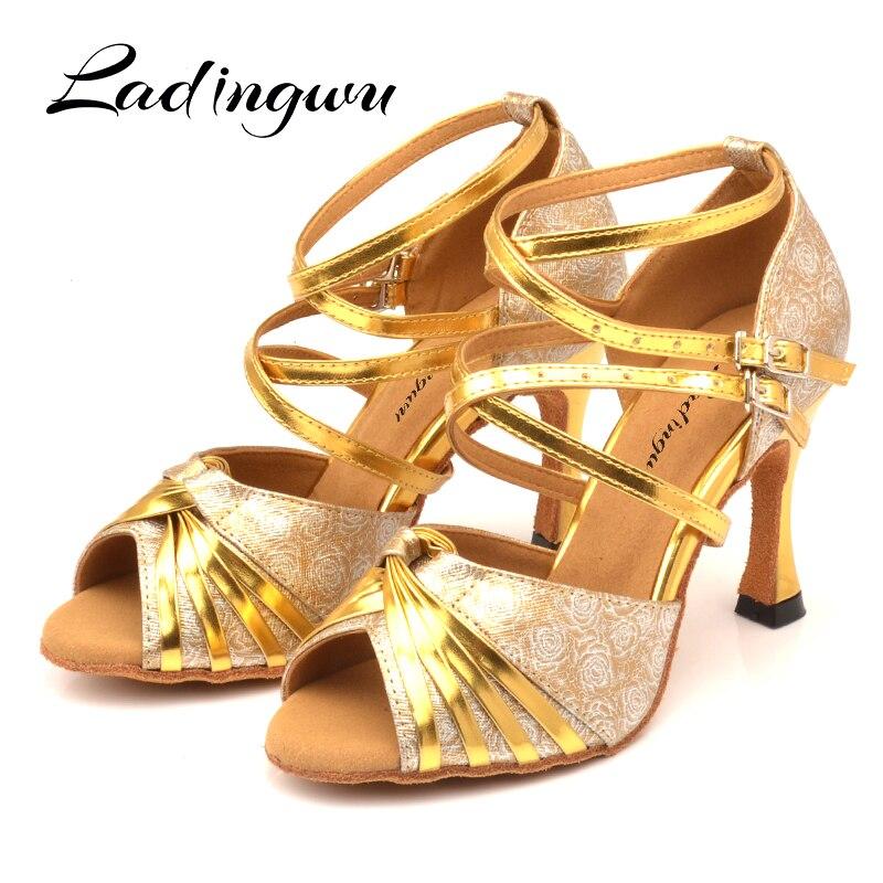 Ladingwu Latin Dance Shoes Women Rose print PU Ballroom Dance Shoes Double cross belt Dance Shoes Salsa Classic Design