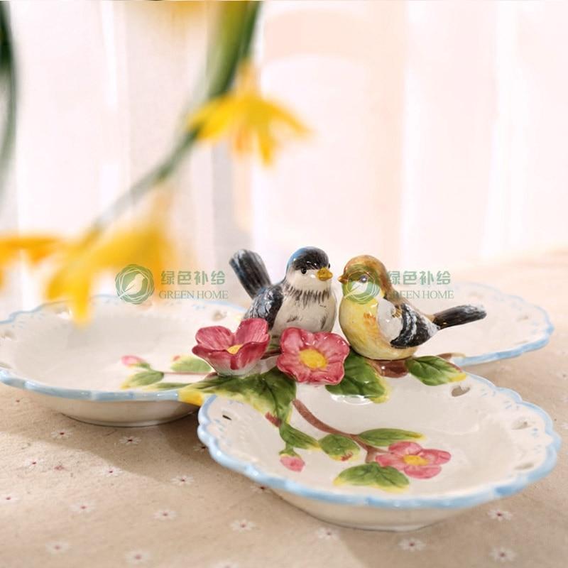 Plato de cerámica con tres cajas para guardar dulces y frutas, plato para postres, aperitivos y ensaladas, decoración para el hogar, decoración para bodas, figurita de artesanía