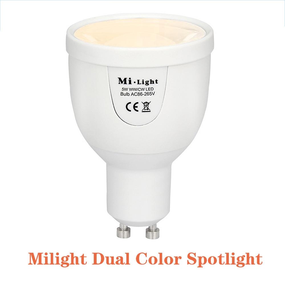 BSOD lámpara LED Milight FUT011 5W bombilla GU10 luz doble Color blanco cálido 2,4G Color Temperture ajuste G10 Compatible con WiFi