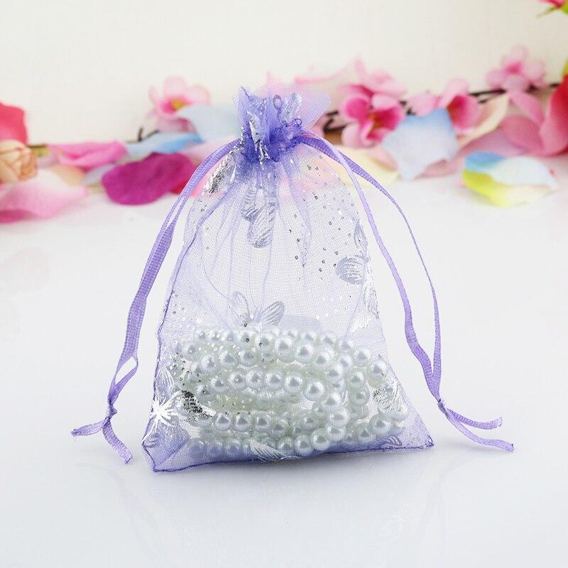 أكياس أورجانزا بتصميم فراشة أرجوانية ، 500 قطعة ، 9 × 12 سنتيمتر ، أكياس هدايا الزفاف ، شحن مجاني