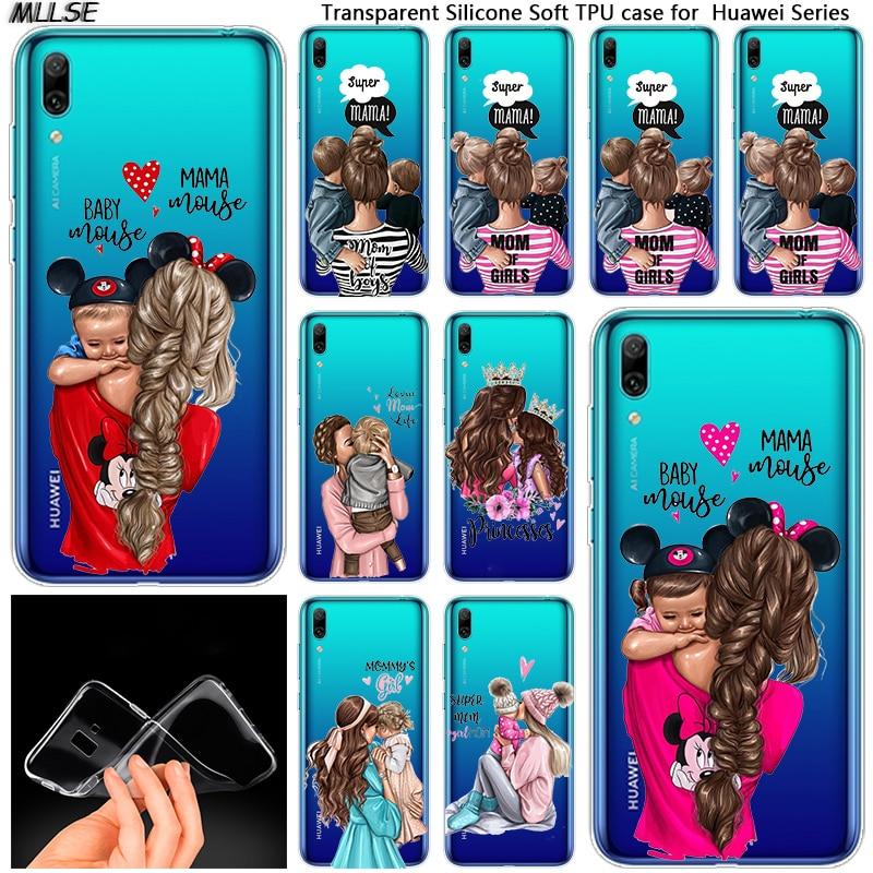 Baby Mom girl boy Transparent Background Soft Case for Huawei Mate 10 20 Lite Pro Enjoy 8 9E Y6 Pro Y5 2017 Y7 Pro Y9 2019 2018
