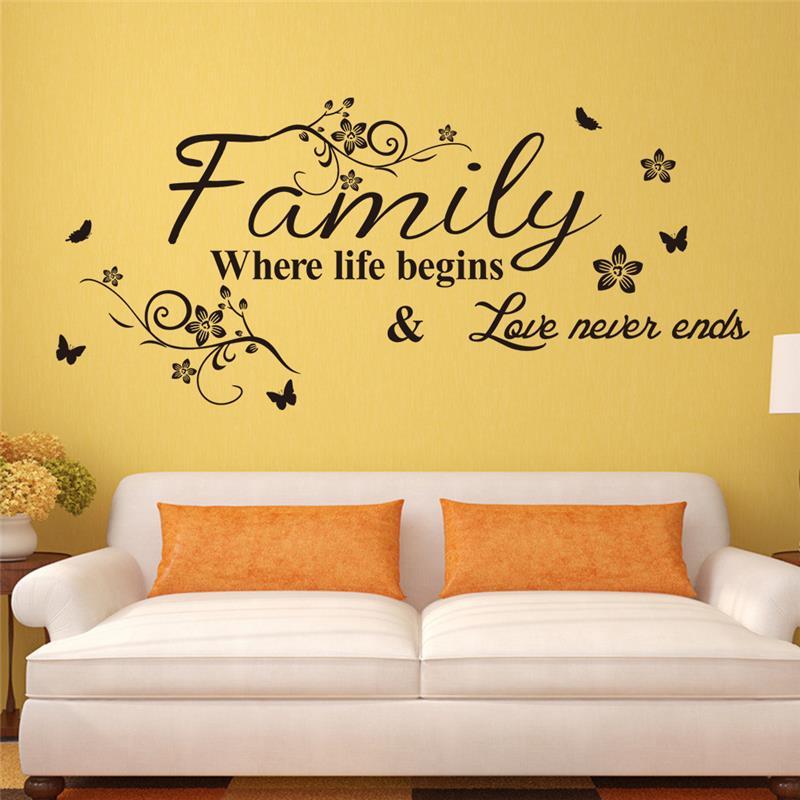 Família Onde A Vida Começa & Love Never Ends Wall Stickers Home Decor Decoração Da Sala Decalques de Vinil Diy Citações Mural Art