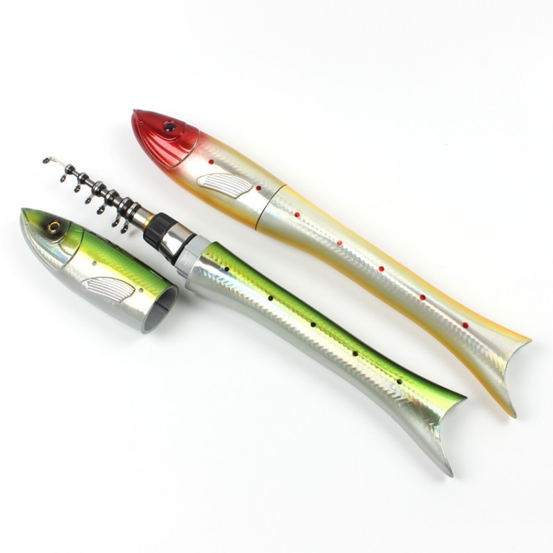 1.6M Mini Ice Fishing Rod Fish Shaped Rod Carbon Telescopic Spinning Rod Casting Carp Fishing Pole