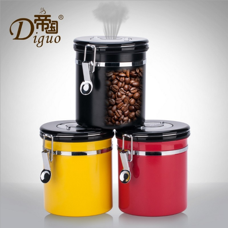 Tanques de almacenamiento de azúcar y café de 1,2 L, latas selladas 18/8, bote de café hermético de acero inoxidable, contenedor de almacenamiento al vacío