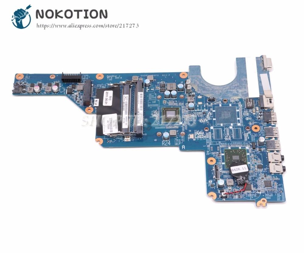 NOKOTION اللوحة الأم للكمبيوتر المحمول ل Hp بافيليون G4 G6 اللوحة الرئيسية DA0R24MB6F0 645529-001 المعالج على متن DDR3