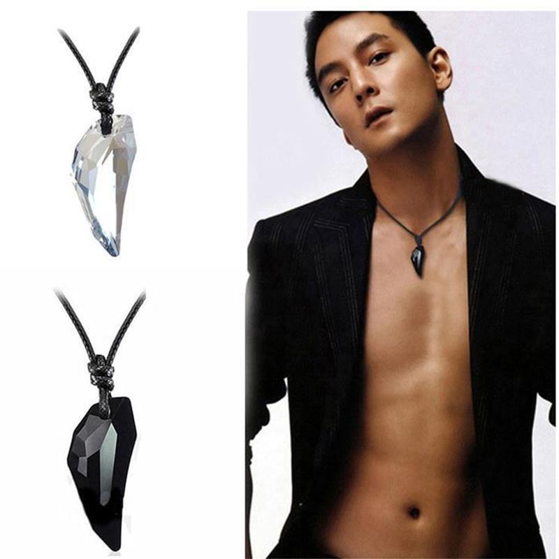 OCTBYNA mode Spike loup dent cristal pendentif en cuir corde collier pour hommes Cool Vintage collier pour unisexe femmes bijoux
