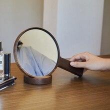 Makeup Mirror Wood Bathroom Accessories Standable Desktop Decoration Mirror High Clear Standing Cosmetic Dresser Mirror