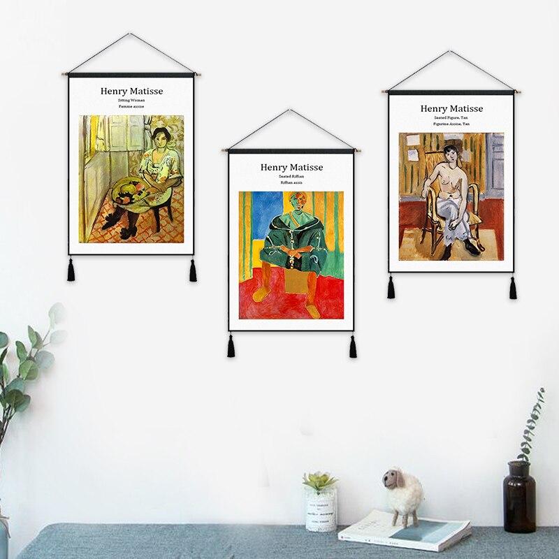 Sitz Figur Tan Riffian Henry Matisse Fauvism Hängen Tuch Baumwolle Linie Malerei Poster Wohnkultur Wandbehang Tapisserie Geschenk