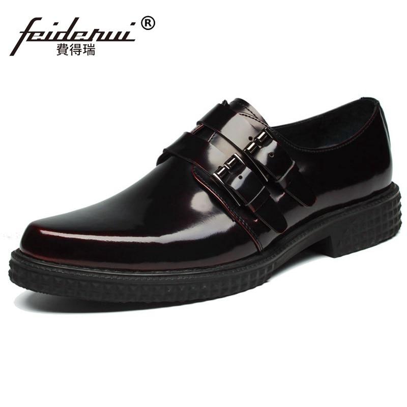 Fashion Flat Platform Man Formal Dress Monk Strap Shoes Patent Leather Handmade Oxfords Pointed Toe Men's Bridal Footwear HJ59