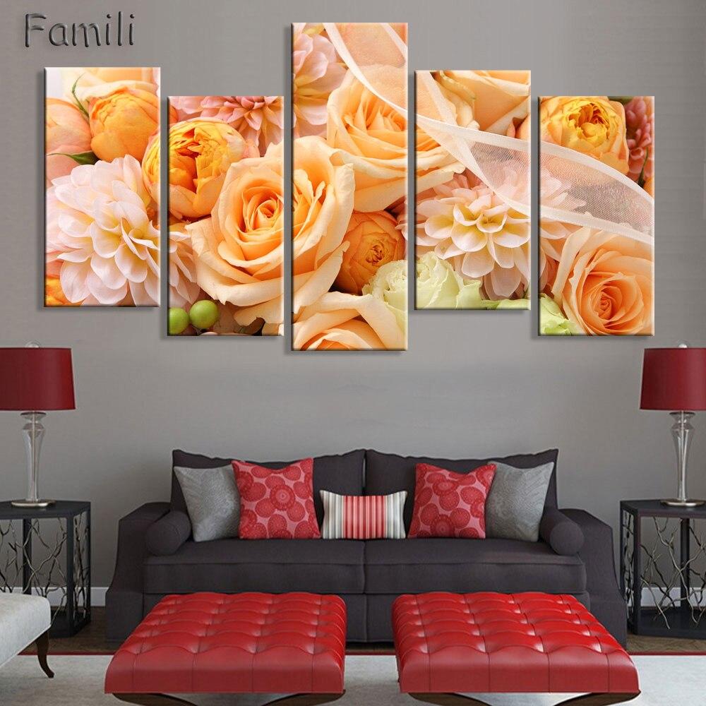 Желтая роза, Картина на холсте, 5 шт., Настенная картина для декора стен, холст, печать, настенная живопись для спальни, домашний декор, без рам...