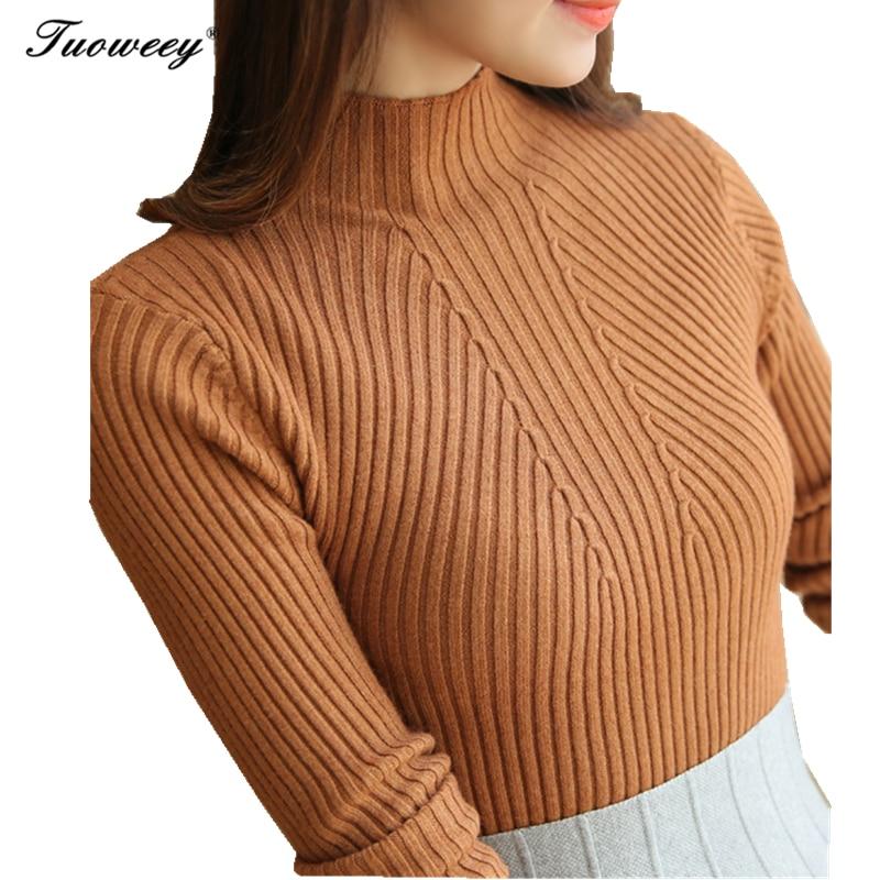 Jersey coreano de punto de otoño-invierno 2019 para Mujer, jersey de Mujer, cómodo, ajustado, cuello alto, jersey de manga larga, Chandail para Mujer