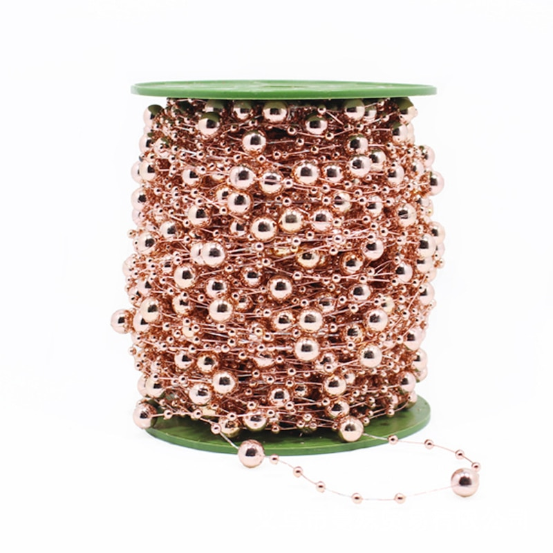 5 m/lote de perlas redondas de imitación de oro rosa galvanizadas con luz, cadena para decoración de bodas, accesorios para fiestas