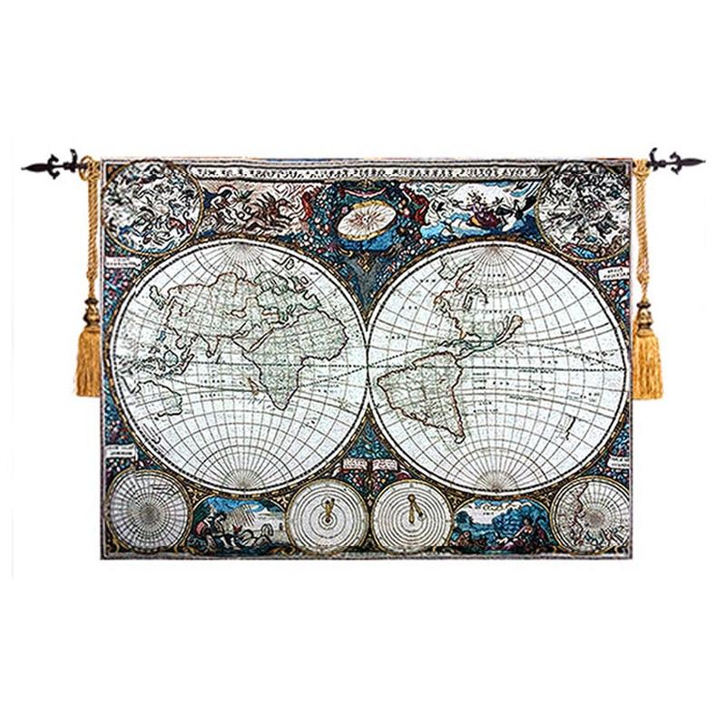 Mittelalterlichen Welt Karte Seekarten Kunst Wandteppich Bild Stoff Belgien Wandbehang Gobelin Marokkanischen Decor Wand Teppich