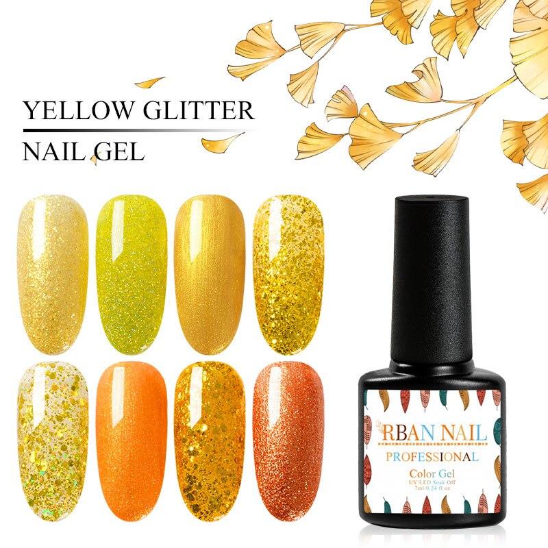 Rban prego amarelo brilho lantejoulas unha gel polonês 7 ml holográfico uv gel verniz uv led embeber fora decorações da arte do prego manicure