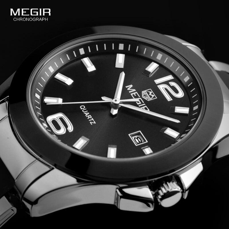 Relojes de pulsera MEGIR de cuarzo de acero Simple y minimalista para hombre, relojes de vestir analógicos de plata negra para hombre de negocios 5006G-BK-1