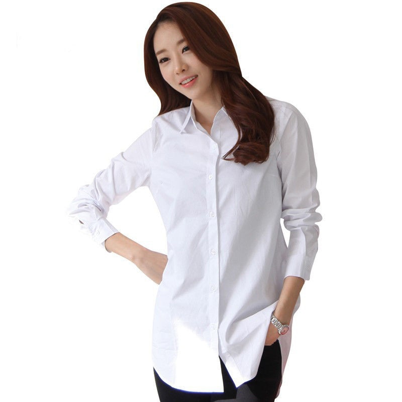 Nuevas camisas blancas clásicas suaves de manga larga para mujer Camisas de negocios elegantes delgadas para oficina