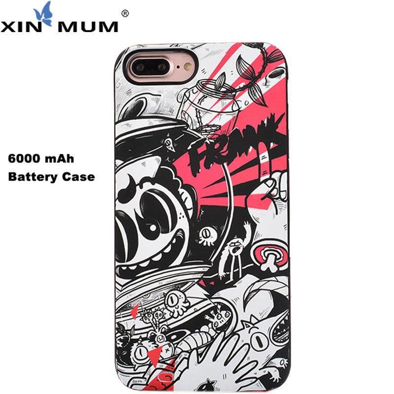 XIN-MUM Graffiti cargador de batería para Apple iPhone 8 7 animales de dibujos animados 6000 mAh cargador de batería para iPhone 6 6 6 S