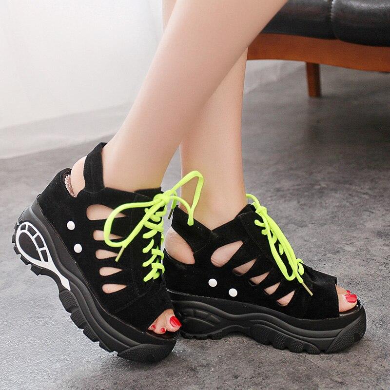 Sandalias de verano para Mujer, zapatillas deslizantes, zapatillas con plataforma hueca, sandalias con cuña, zapatos de Mujer con tacón alto, Sandalia para Mujer
