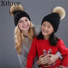 Xthree chapeau en vrai fourrure de vison   pom poms tricoté, bonnets de boule, chapeau dhiver pour femmes, chapeau de fille, Skullies, flambant neuf capuchon féminin épais