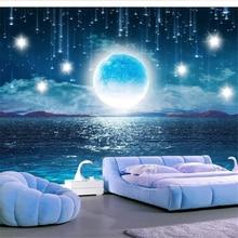 Wellyu-papier peint personnalisé 3d   rose deau, lune brillante, magnifique ciel étoilé, pleine lune, paysage de salon, toile de fond de salon