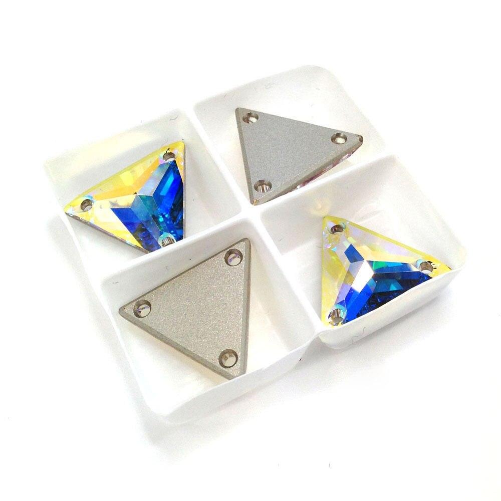 Cristal AB Trilliant coser en diamantes de imitación de cristal plano 12 16 22 mm coser en piedra para coser vestido Strass ropa