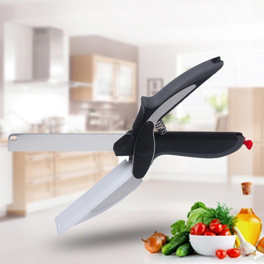 Качественные ножницы 2 в 1, кухонный нож, разделочная доска, инструменты для овощей, как показано по телевизору, 2018, Прямая поставка