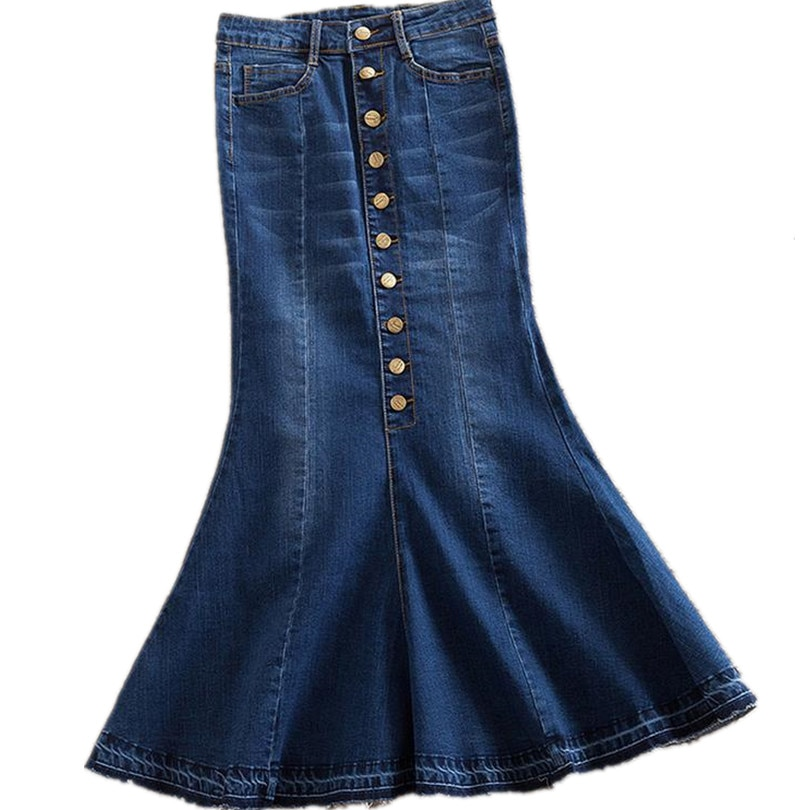 new plus size 7xl women denim skirts High waist long denim skirt fashion ladies trumpet mermaid
