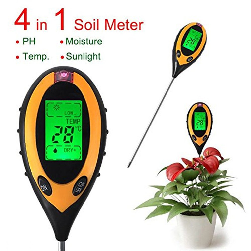 Анализатор почвы ЖК дисплей 4 в 1 Сменный электрод Влажность Солнечный свет