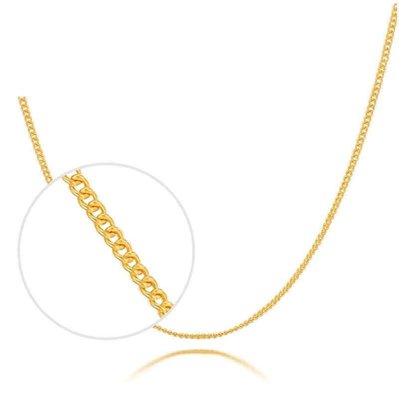 Sólido puro 999 24K oro amarillo collar de las mujeres cadena de eslabones curb collar P6280
