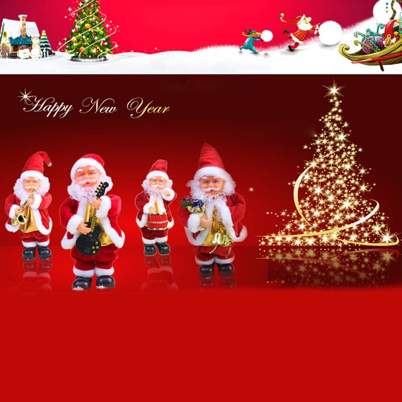 Cute Santa Claus Dancing Singing Music Toy Plush Christmas Dolls Electric Toys Saxophone Guitar BM88